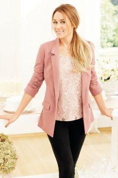 I like the pink blazer with black skinny jeans.