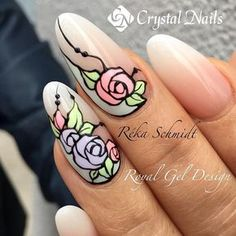 The Best Nail Art Designs – Your Beautiful Nails Nail Art Simple, Simple Nail Art Designs, Nail Art Diy, Diy Nails, Diy Manicure, Flower Nail Designs, Flower Nail Art, Nail Art Rose, Rose Nail Design