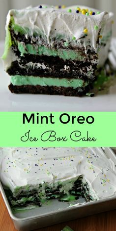 Mint Oreo Ice Box Cake - Perfect for St. Patrick's Day   Only FIVE INGREDIENTS needed to create this tasty NO BAKE dessert.