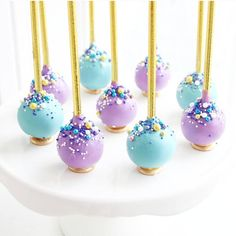 Aladdin inspired princess Jasmine cake pops. Princess cake pops with sprinkles instead of tiaras makes a big impact #princessjasmine #cakepops #aladdin #disney…""
