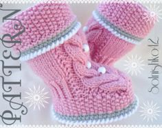 Knitting PATTERN  Baby Booties Baby Shoes Pattern Knitted Baby Booties Knitted Baby Booty Baby Uggs Patterns Baby Boots ( PDF file )