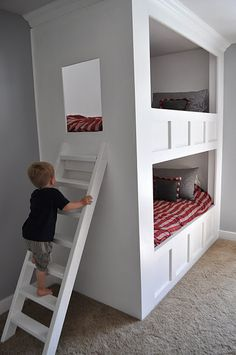 Prachtig stapelbed #kinderkamer | Great bunk bed! It's made entirely out of MDF. Voor bij opa en oma