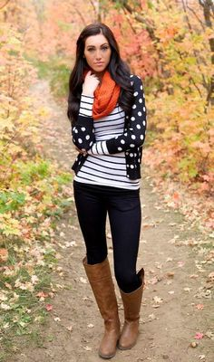 winter outfits leggins striped tee with polka dots cardigan, Winter outfits ideas in pop colors jus. - Outfits for Work Winter Cardigan Outfit, Cardigan Outfits, Casual Outfits, Cute Outfits, Fashion Outfits, Womens Fashion, Dots Fashion, Dress Outfits, Trendy Fashion