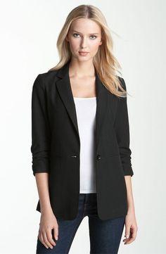 Ruched Sleeve Boyfriend Jacket