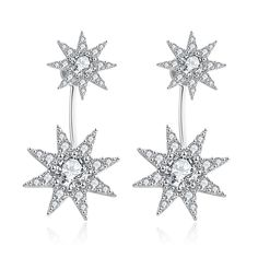 White Gold Plated Star Drop Studs