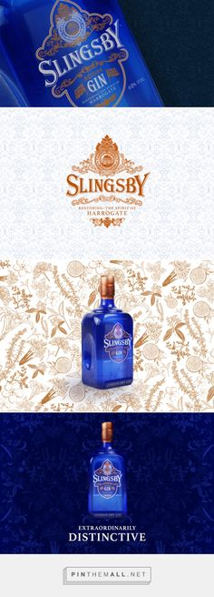 Slingsby Artisan Gin via The Dieline - Branding & Packaging by Underscore, United Kingdom curated by Packaging Diva PD.  New premium spirit embodying the distinctively extraordinary character of Harrogate, served from a beautiful jewel-like bottle adorned with ornamental leaves, two Great Britain flags, and the Slingsby crest.