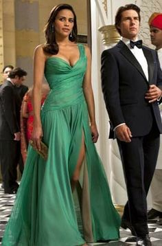 Paula Patton Green Evening Dress in Movie Mission Impossible - TheCelebrityDresses