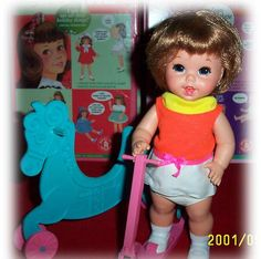 Image detail for -Rare Baby Small Walk Doll with both Horse and Scooter.  Even Has her ...