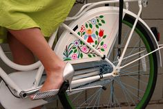 The Electra Amsterdam Girard has a skirt guard colorfully painted with the folk art of Alexander Girard (Available at Bingham Cyclery)