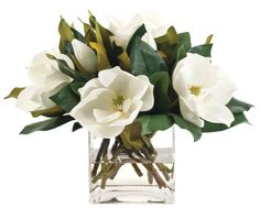 Natural Decorations, Inc. - Magnolia White, Glass Cube