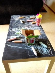 chalkboard paint-love this idea for a coffee table or outside patio table when the concrete is to hot for little artists......