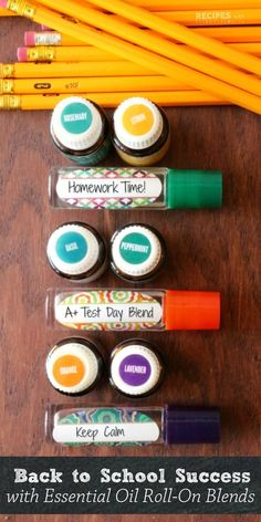 Your kids will love these 3 new personalized essential oil roller blends to stay calm and focused for back to school from http://RecipeswithEssentialOils.com