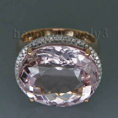 New Oval 10x17mm Solid 14Kt Rose Gold Diamond Kunzite Engagement Ring R00324 #beyondjewelry #Band