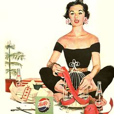 Detail Of Pepsi-Cola Yoga Girl Pepsi - Mad Men Art: The Vintage Advertisement Art Collection Retro Advertising, Vintage Advertisements, Pepsi Advertisement, Retro Ads, Christmas Style, Vintage Christmas, Vintage Images, Vintage Posters, Vintage Mom