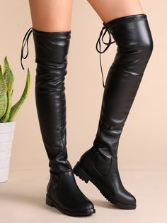 Shop Black Faux Leather Tie Back Thigh High Boots online. SheIn offers Black Faux Leather Tie Back Thigh High Boots & more to fit your fashionable needs. Thigh High Boots Flat, Low Heel Boots, Heeled Boots, High Heels Plateau, Bob Shoes, Star Boots, Buy Boots, Winter Fashion Boots, Mode Streetwear