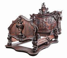A Baroque Revival Carved Oak and Walnut Bed, Height of : Lot 476 Victorian Furniture, Unique Furniture, Wooden Furniture, Vintage Furniture, Furniture Decor, Geek Furniture, Furniture Websites, Furniture Market, Furniture Arrangement