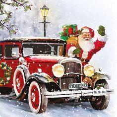 Servietten Lunch cm Santa`s Auto ⋆ ReWa Floristische Trends Merry Christmas, Christmas Scenes, Vintage Christmas Cards, Christmas Pictures, Christmas Crafts, Christmas Decorations, Christmas Ornaments, Christmas Mantles, Silver Christmas