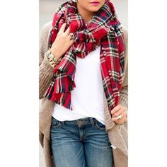 Designer's Inspired Plaid Tartan scarf or Wrap or Shawl Huge COLOR : RED & NAVY! by maemay on Opensky