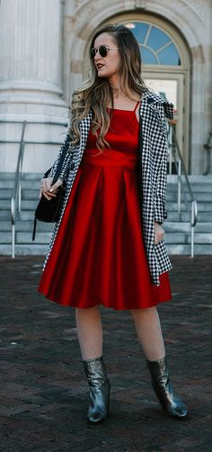 Cute winter date night outfit styled with red midi dress, houndstooth coat, metallic booties