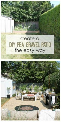 Create a beautiful Hamptons-inspired pea gravel patio with these simple and easy to follow instructions | City Farmhouse #patioDesign
