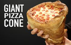 We looked up Pizza Cones and they're cute and all. With a giant pizza cone, just grab onto it with two han. Giant Pizza, Giant Food, Pizza Cones, Pizza In A Cone, Totinos Pizza Rolls, Pepperoni Sticks, Easy Bake Oven, Thin Crust Pizza, Italian Foods