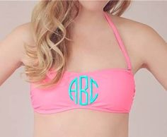 Monogrammed Bandeau Bikini Bathing Suit Top- must have for this summer Cute Bathing Suits, Bathing Suit Top, Preppy Style, My Style, Summer Outfits, Cute Outfits, Bandeau Bikini, Swimsuit Tops, Bikinis