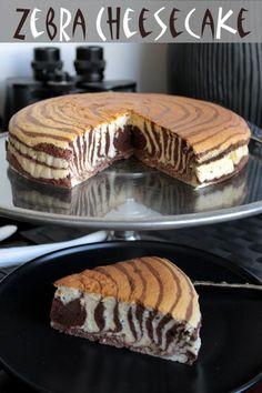 Zebra cheesecake. Looks amazing.. I want this cake!