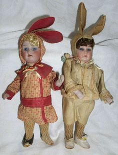 Antique German Pfeffer Bisque Rabbit Boy Girl Doll Candy Containers | eBay
