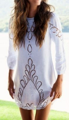 dress boho chic lace long sleeved dress shift dress cutout greek white greek goddess short dress cover up beach crochet printed cute