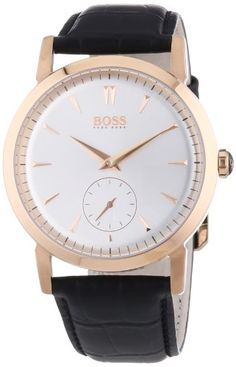 Men's Wrist Watches - Hugo Boss Silver Dial Rose Goldtone Black Leather Mens Watch 1512776 * Want to know more, click on the image.