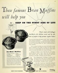 This is an original 1934 black and white print ad for Kellogg's All Bran Cereal, which includes a recipe for All-Bran Muffins. CONDITION This year old Item is rated Very Fine +++. Cereal Recipes, Old Recipes, Vintage Recipes, Gourmet Recipes, Retro Recipes, All Bran Muffins, Breakfast Muffins, Breakfast Recipes, Sunday Breakfast