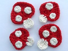 Crochet applique 4 crochet toadstools  cards by MyfanwysAppliques, £3.00
