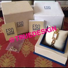 ESQ SQUARE FACE GOLD WOMEN'S WATCH Pre loved. ESQ gold women's watch. ESQ is a Swiss Quartz engineered brand which has won 200+ international awards.  Paid $400+ for it. See pics! Comes with box and extra links, authenticity card, booklet and new battery. Watch has been re-pressurized to ensure water resistance. Tap my user name to see everything in my closet! Posh takes $40+ fee as this price. ESQ Accessories Watches