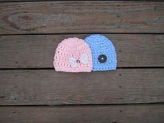 crocheted twins set,baby boy beanie hat with button,baby girl hat with bow,blue beanie,pink beanie hat,photo prop,shower gift by Etvy on Etsy