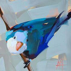 "Daily Paintworks - ""Blue Parakeet no. 4 Painting"" - Original Fine Art for Sale - © Angela Moulton"