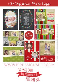 Christmas Photo Cards Photoshop templates for photographers