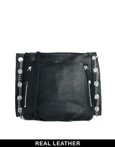 DKNY Active Leather Bag with Double Zip and Chain Detail Bőrtáska 5770218626
