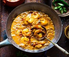 Rich and fragrant curry sauce is great with prawns, but you could easily use the chicken instead. It's worth hunting out tamarind purée for this Sri Lankan curry. It adds the most delicious sour notes that taste amazing and balance the curry perfectly. Curry Recipes, Fish Recipes, Seafood Recipes, Indian Food Recipes, Asian Recipes, Cooking Recipes, Ethnic Recipes, Thai Prawn Recipes, Cooking Tips