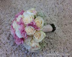 Pink and White Bridal Bouquet w/ Lace Ribbon Wrap