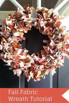Fall Fabric Wreath Tutorial fall decor, fall, wreath, scrap project, fabric