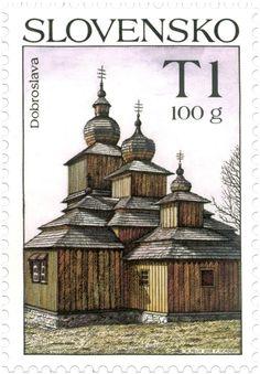 Stamp: Wooden Church Dobroslava (Slovakia) (Splendors of Homeland) Mi:SK 430 Old Stamps, Postage Stamp Art, Going Postal, Heart Of Europe, Interesting Buildings, Central Europe, Mail Art, Stamp Collecting, Homeland