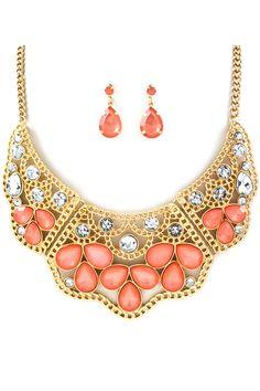 Maggie Teardrop Necklace & Earrings in Crystal Coral.
