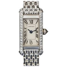 Cartier Lady's White Gold and Diamond Tank Allongee Wristwatch circa 2000s | From a unique collection of vintage wrist watches at https://www.1stdibs.com/jewelry/watches/wrist-watches/