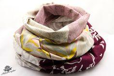 Loop-Schal aus der Lieblingsmanufaktur in beige, grau, mit dezentem Lila und Braun: Dein Patchwork - Lieblingsstück