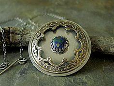 Mandala Pendant Earth Mandala Sterling Silver Brass Azurite Malachite large mixed metal - EarthDance