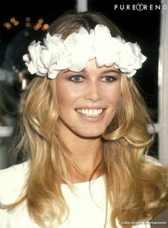 Claudia Schiffer, beautiful, right? But I was thinking of her wreath for wedding day hair.