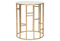 One Kings Lane - The Bedside Boutique - Lennon Accent Table, Gold/White Glass
