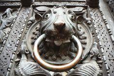 ♅ Detailed Doors to Drool Over ♅  art photographs of door knockers, hardware & portals - Lion Door knocker