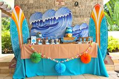 Dessert table at a Surf Party #surf #party