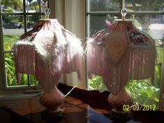 Handsewn shades on vintage lamps. Shabby cottage style. On Etsy Pattipushcarts shop. One of a kind pair.